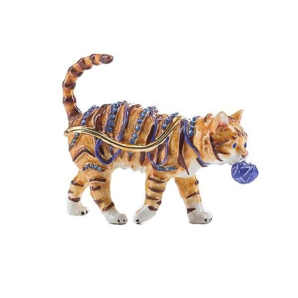 Шкатулка со стразами в форме Кота