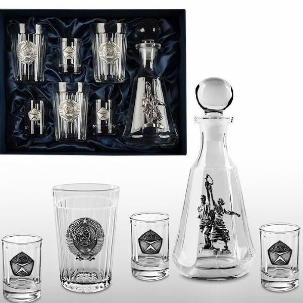 Набор из графина трёх стопок и трёх гранёных стаканов