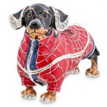 Шкатулка Такса - паук с отделкой стразами и цветной эмалью
