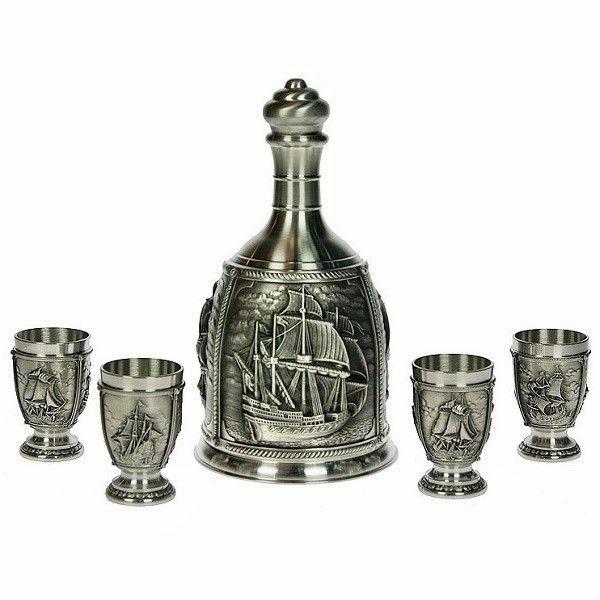 Набор для водки из олова Старые парусники