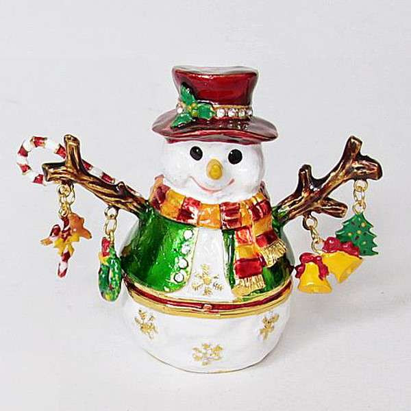 Сувенир шкатулка Снеговичок с елочными игрушками