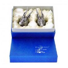 Стопки перевертыши для водки с головами Антилоп из олова в подарочной коробке