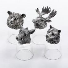 Рюмки охотничьи с головами животных из олова