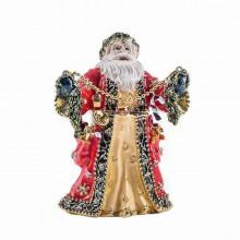 Шкатулка металлическая со стразами Дедушка Мороз