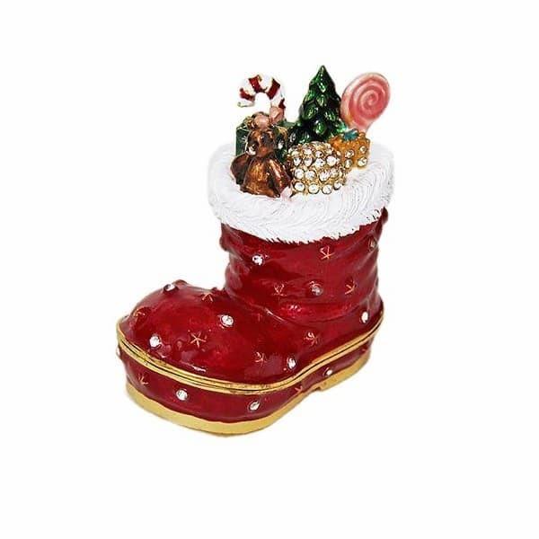 Сувенирная шкатулка со стразами Новогодний сапожок с подарками