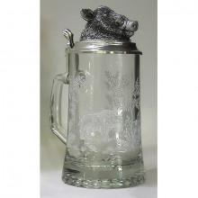 Кружка для пива Кабан из стекла с крышкой из олова