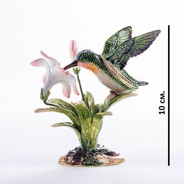 Подарок со стразами шкатулка Колибри с цветком
