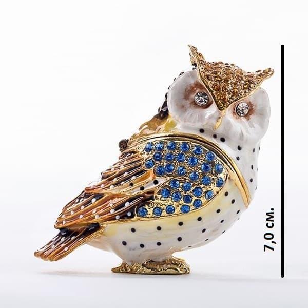 Шкатулка для украшений со стразами Сова золотая