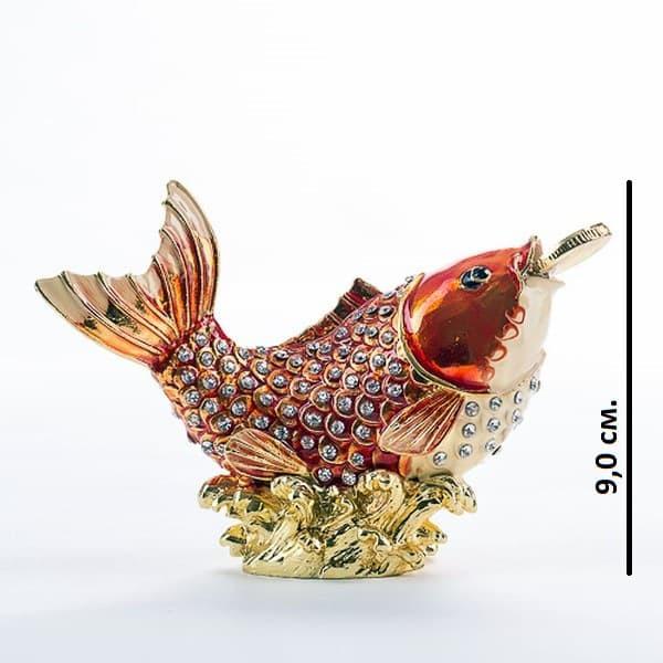 Шкатулка со стразами для девочек Золотая рыбка с монеткой