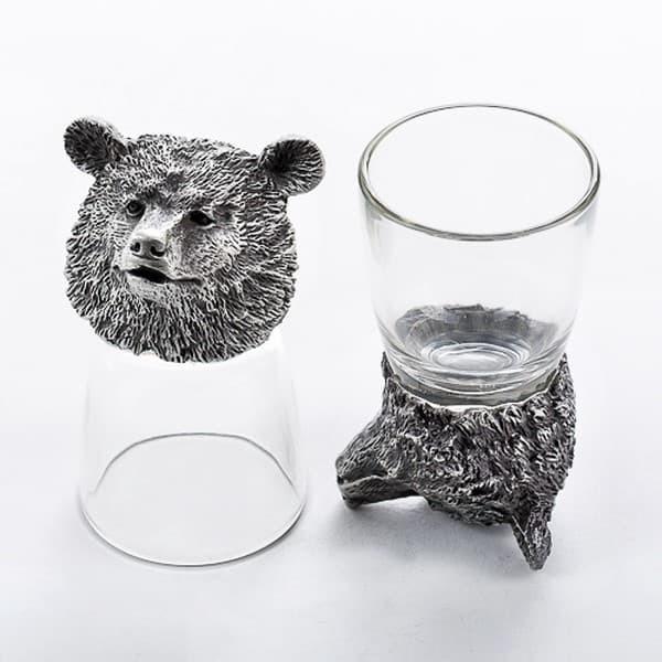 Подарочный набор стопок перевертышей для водки Медведь