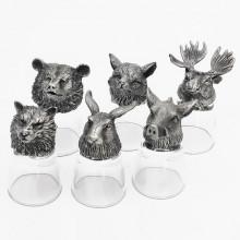 Оригинальный подарок на день рождения охотнику стопки перевертыши Охота с головами зверей из олова