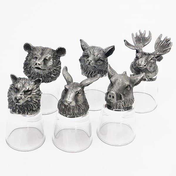 Оригинальный подарок на день рождения охотнику стопки перевертыши с головами зверей из олова