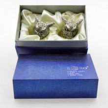 Подарочные рюмки перевертыши с головами птиц Филин из олова