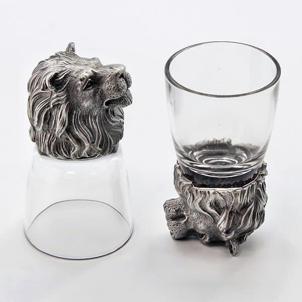 Рюмки перевертыши с фигурками Львов из олова