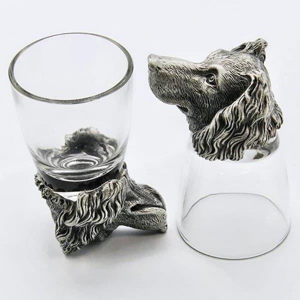 Подарочные стопки с головами животных из олова Спаниель