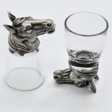 Набор для водки подарочный стопки перевертыши с головой Коня из олова