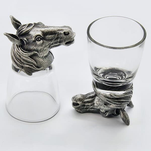 Набор для водки стопки перевертыши с головой Коня из олова