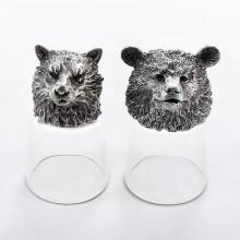 Подарок на 23 февраля охотнику стопки перевертыши Медведь и Волк