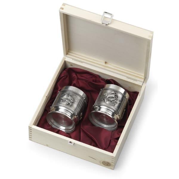 Набор для виски La Paloma два стакана из олова в деревянной коробке