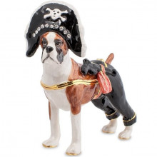 Металлическая шкатулка в виде животного Боксёр Пират