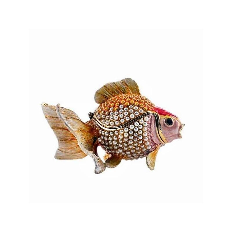 Маленькая шкатулка со стразами для украшений Рыбка