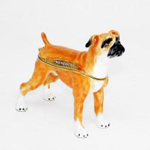 Шкатулка со стразами собака Боксёр