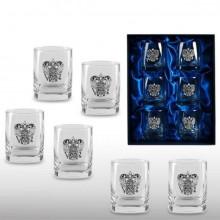 Подарочный набор стаканов для виски Державный с накладками из олова и подарочная коробка