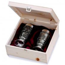 Пивные бокалы Гамбринус из олова в деревянной подарочной корбке