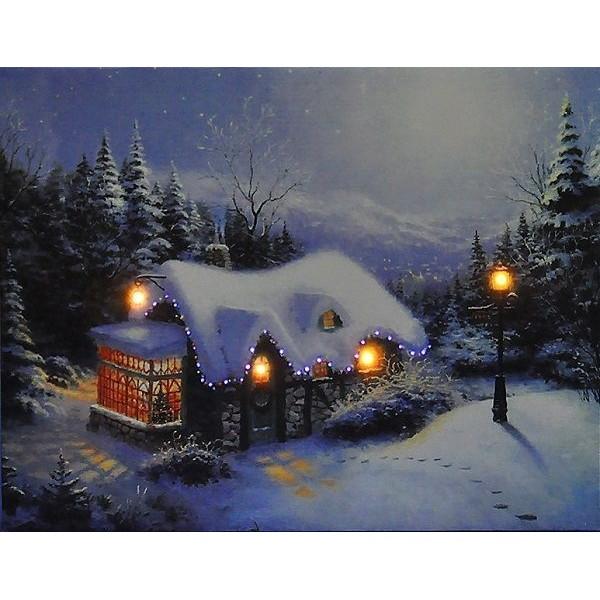 Картина для интерьера со светодиодами «Домик в лесу»