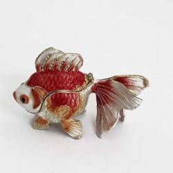 Шкатулка из металла со стразами в форме рыбки