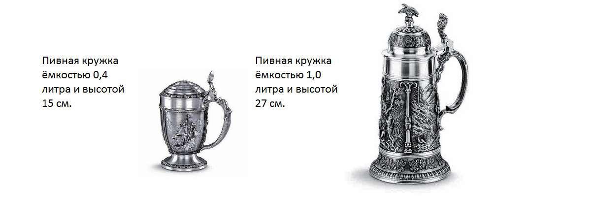 Кружки разных размеров, для пива разной плотности